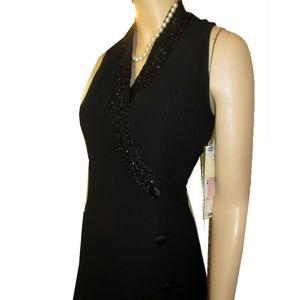 New KENAR Asian Inspired Beaded Maxi Dress Black